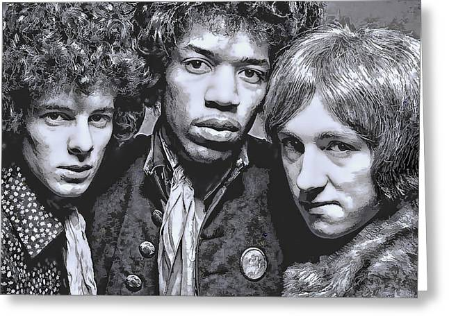 Super Stars Greeting Cards - Jimi Hendrix Experience  1967 Greeting Card by Daniel Hagerman
