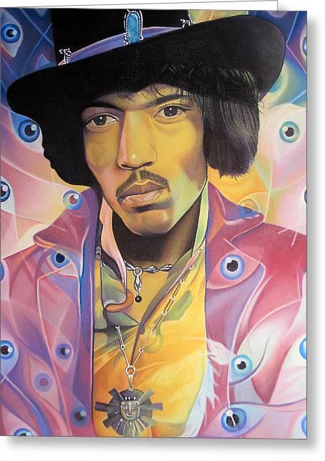 Jimi Hendrix Drawings Greeting Cards - Jimi Hendrix Eyes Greeting Card by Joshua Morton