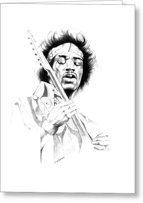 Jimi Hendrix Greeting Card by Gordon Van Dusen