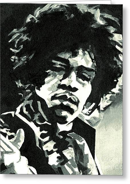 Greatest Guitarists Of All Time Greeting Cards - Jimi Hendrix. If 6 Was 9  Greeting Card by Tanya Filichkin