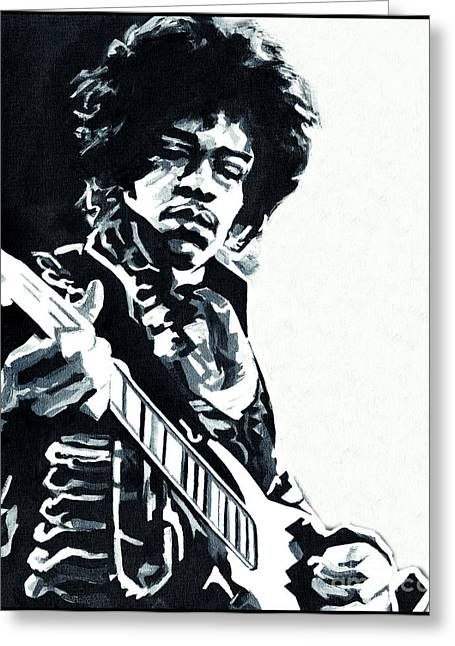 Greatest Guitarists Of All Time Greeting Cards - Jimi Hendrix - Inside Out Greeting Card by Tanya Filichkin
