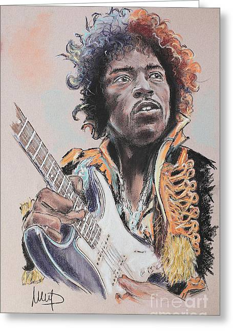Guitar Pastels Greeting Cards - Jimi Hendrix Greeting Card by Melanie D