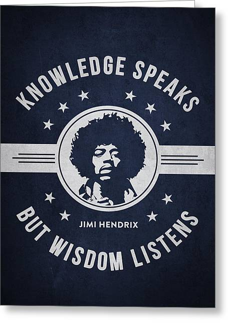 Singer Songwriter Greeting Cards - Jimi Hendrix - Navy Blue Greeting Card by Aged Pixel