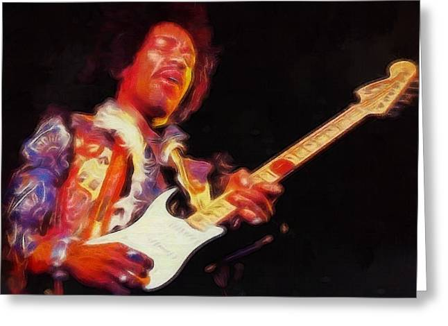 Haze Mixed Media Greeting Cards - Jimi Hendrix On Guitar Greeting Card by Dan Sproul