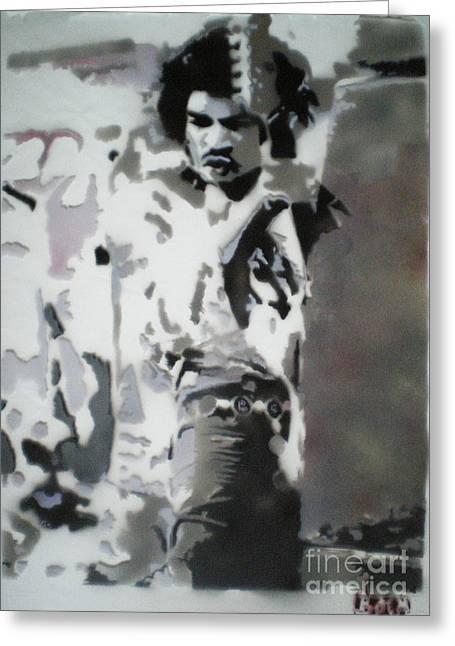 Jimi Hendrix  On Plexiglass Greeting Card by Barry Boom