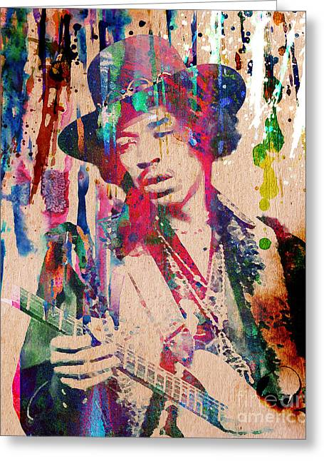 60s Greeting Cards - Jimi Hendrix Original Greeting Card by Ryan RockChromatic