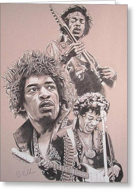 Jimi Hendrix Drawings Greeting Cards - Jimi Hendrix Greeting Card by Patrick Killian
