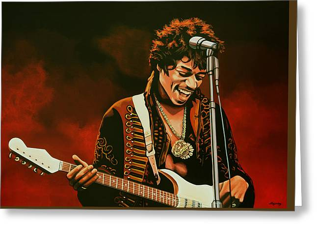 Flames Paintings Greeting Cards - Jimi Hendrix Greeting Card by Paul  Meijering