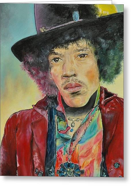 Heroes Pastels Greeting Cards - Jimi Hendrix Greeting Card by Paula Sharlea