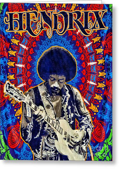 Arts In Wonderland Greeting Cards - Jimi Hendrix Greeting Card by Peter Dang