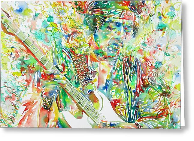 Guitar Pictures Greeting Cards - Jimi Hendrix Playing The Guitar Portrait.1 Greeting Card by Fabrizio Cassetta