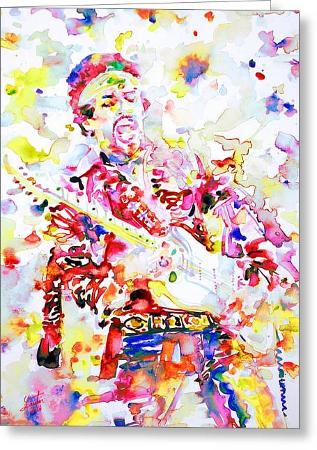 Live Art Greeting Cards - JIMI HENDRIX playing the guitar.8 - watercolor portrait Greeting Card by Fabrizio Cassetta