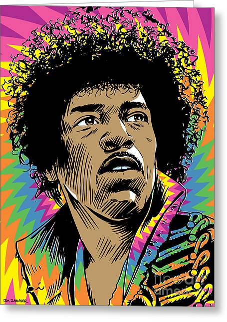 Sixties Music Greeting Cards - Jimi Hendrix Pop Art Greeting Card by Jim Zahniser