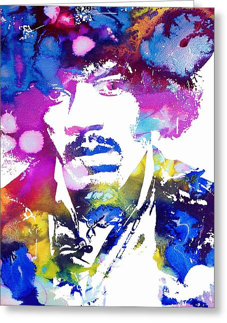 Celebrtiy Portraits Greeting Cards - Jimi Hendrix - Psychedelic Greeting Card by Michael Braham