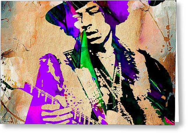 Psychedilic Greeting Cards - Jimi Hendrix Purple Haze Painting Greeting Card by Marvin Blaine