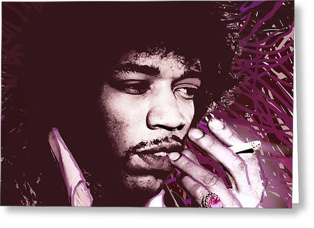 Jimi Hendrix Purple Haze Red Greeting Card by Tony Rubino