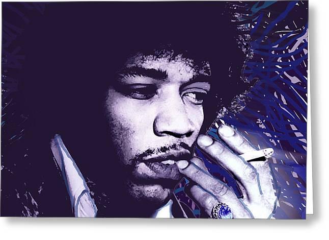 Haze Paintings Greeting Cards - Jimi Hendrix Purple Haze  Greeting Card by Tony Rubino