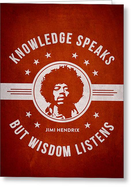 Singer Songwriter Greeting Cards - Jimi Hendrix - Red Greeting Card by Aged Pixel