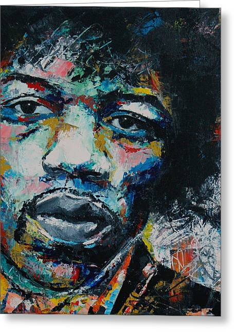 Abstract Expression Greeting Cards - Jimi Hendrix Greeting Card by Richard Day