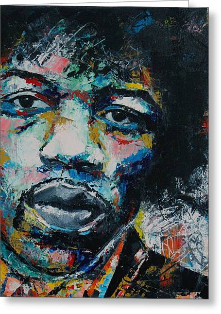 Abstract Expressions Greeting Cards - Jimi Hendrix Greeting Card by Richard Day