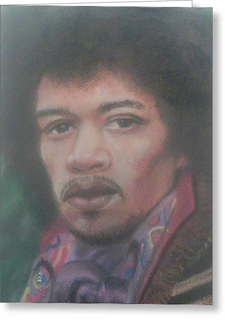 Celebrity Portraits Pastels Greeting Cards - Jimi Hendrix  Greeting Card by Ronnie Melvin