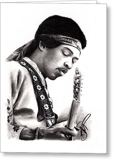 Jimi Hendrix Drawings Greeting Cards - Jimi Hendrix Greeting Card by Rosalinda Markle