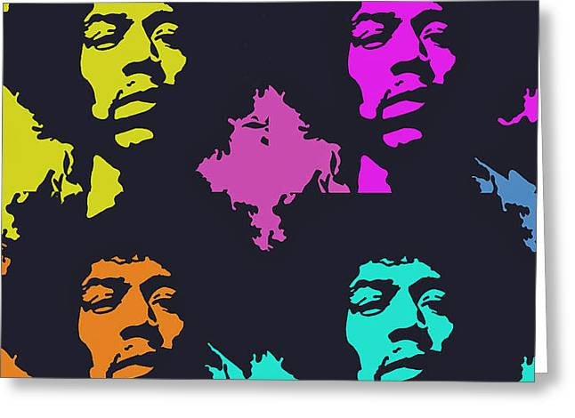 Eyebrow Greeting Cards - Jimi Hendrix Greeting Card by Ryszard Sleczka