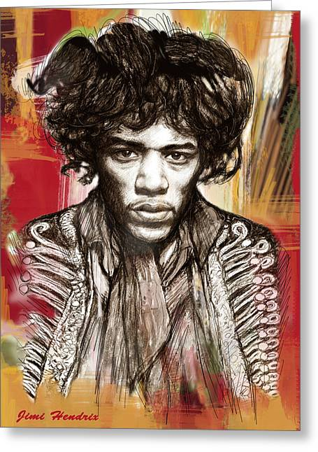 Considering Greeting Cards - Jimi Hendrix stylised pop art drawing potrait poster Greeting Card by Kim Wang