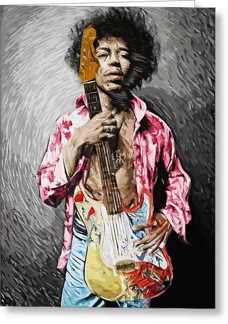 Taylan Soyturk Greeting Cards - Jimi Hendrix Greeting Card by Taylan Soyturk