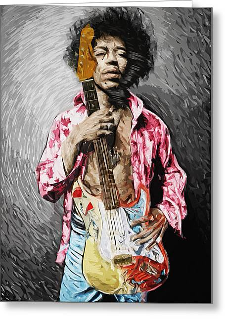 Jimi Hendrix Greeting Card by Taylan Soyturk
