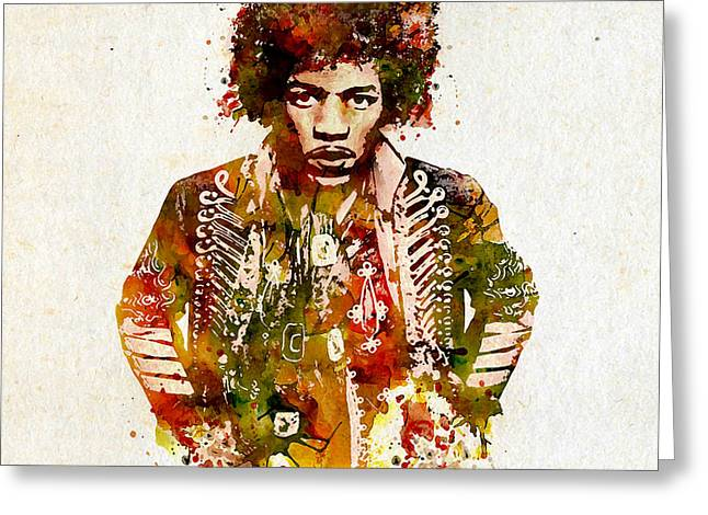 Sized Greeting Cards - Jimi Hendrix watercolor Greeting Card by Marian Voicu