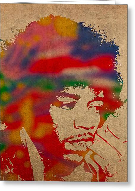 National Anthem Greeting Cards - Jimi Hendrix Watercolor Portrait on Worn Distressed Canvas Greeting Card by Design Turnpike