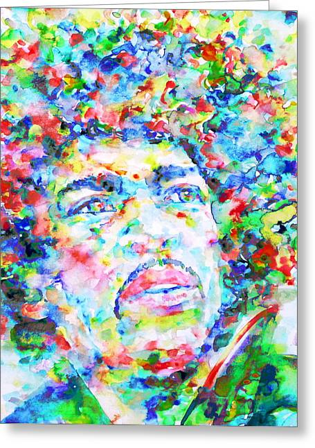 Psychedelia Greeting Cards - JIMI HENDRIX  - watercolor portrait.3 Greeting Card by Fabrizio Cassetta