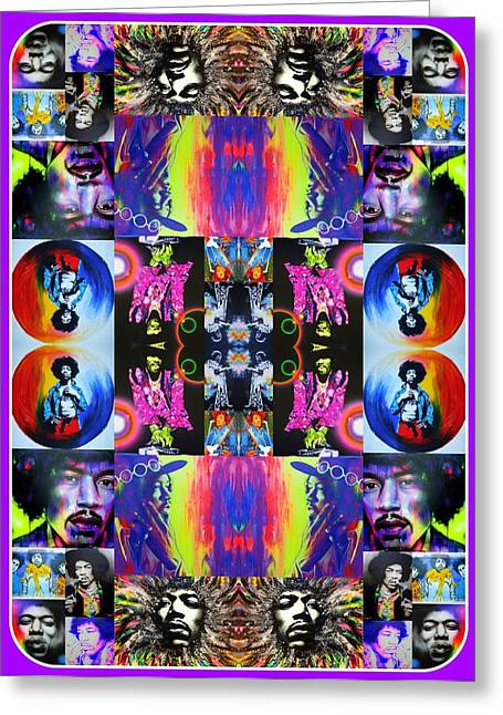 Hippy Greeting Cards - Jimi Kaleidoscope I Greeting Card by Christian Chapman Art