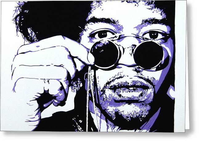 Johnny Allen Hendrix Greeting Cards - Jimi. Greeting Card by Nancy Mergybrower