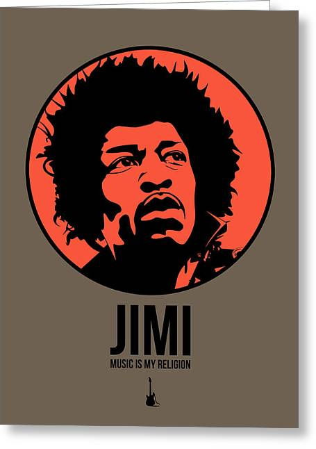 Jimi Hendrix Greeting Cards - Jimi Poster 1 Greeting Card by Naxart Studio