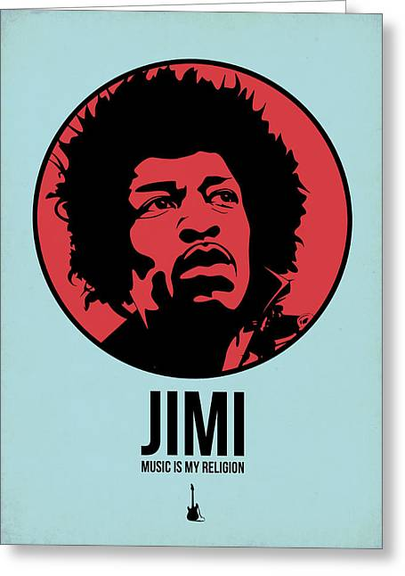 Jimi Poster 2 Greeting Card by Naxart Studio