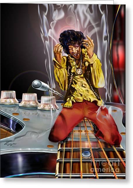 Super Stars Greeting Cards - Jimi Up N Smoke - The Jimi Hendrix Series Greeting Card by Reggie Duffie
