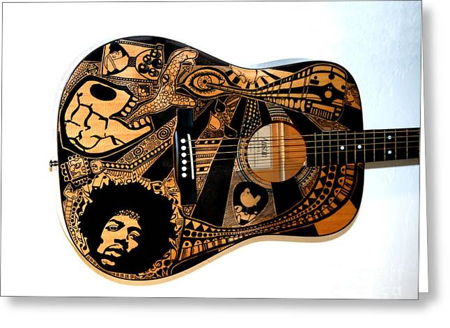 Sharpie Art Greeting Cards - Jimis Guitar Greeting Card by The Art Of Rido