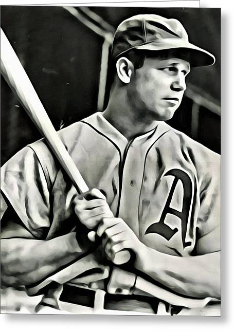Red Sox Vintage Poster Greeting Cards - Jimmie Foxx Greeting Card by Florian Rodarte