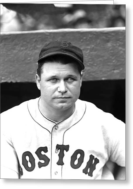 Boston Red Sox Greeting Cards - Jimmie Foxx In Dugout Greeting Card by Retro Images Archive