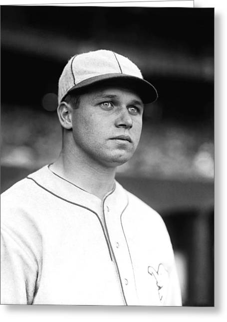 Boston Red Sox Greeting Cards - Jimmie Foxx Looking Away Greeting Card by Retro Images Archive