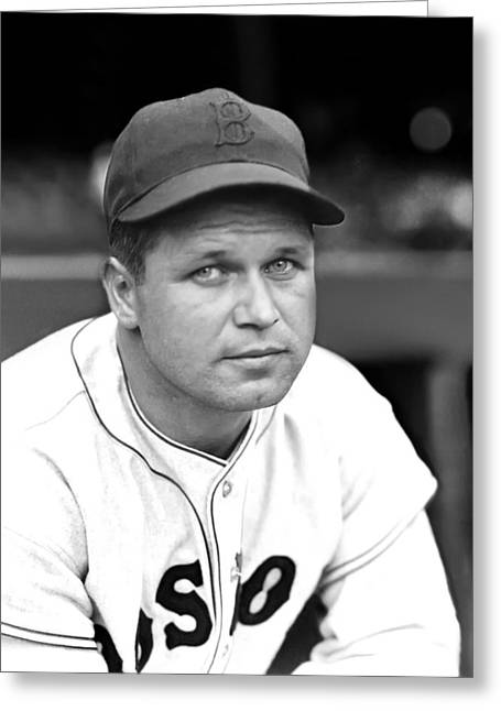 Boston Red Sox Greeting Cards - Jimmie Foxx Red Sox Close Up Greeting Card by Retro Images Archive