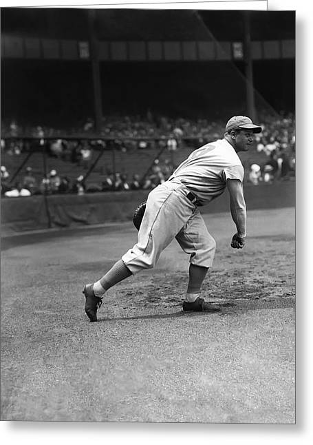 Boston Red Sox Greeting Cards - Jimmie Foxx Warming Up Greeting Card by Retro Images Archive