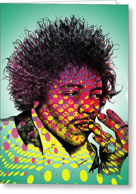Modern Digital Art Digital Art Greeting Cards - Jimmie Hendrix  Greeting Card by Mark Ashkenazi