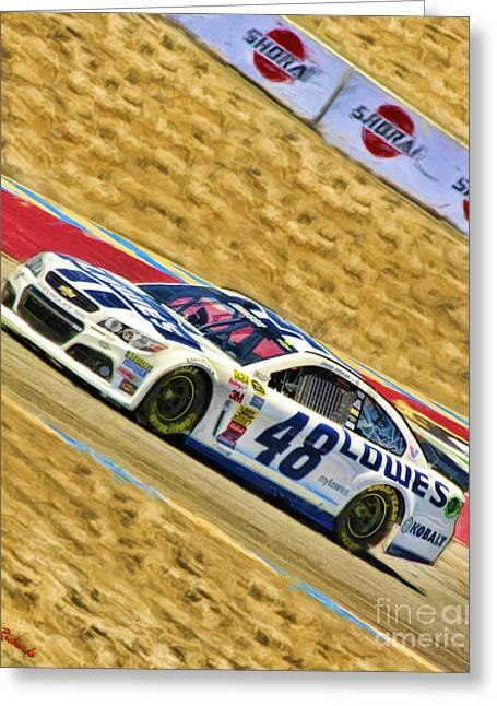 Jimmie Johnson Greeting Cards - Jimmie Johnson 2014 Greeting Card by Blake Richards