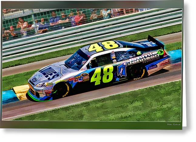 Jimmie Johnson Greeting Cards - Jimmie Johnson Greeting Card by Blake Richards