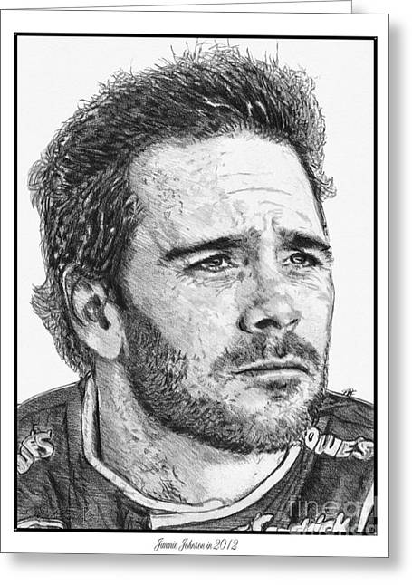 Jimmie Johnson Greeting Cards - Jimmie Johnson in 2012 Greeting Card by J McCombie
