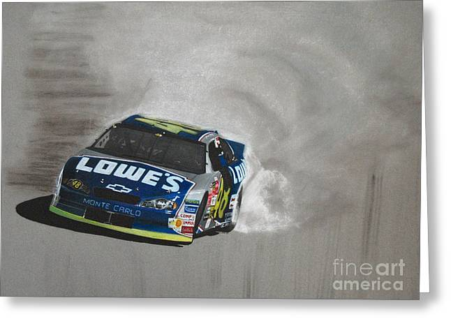 Jimmie Johnson Greeting Cards - Jimmie Johnson-Victory burnout Greeting Card by Paul Kuras