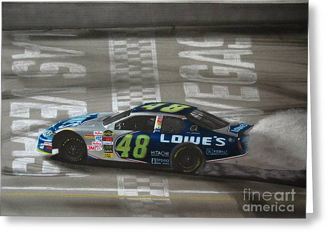 Jimmie Johnson Greeting Cards - Jimmie Johnson Wins at Las Vegas Greeting Card by Paul Kuras